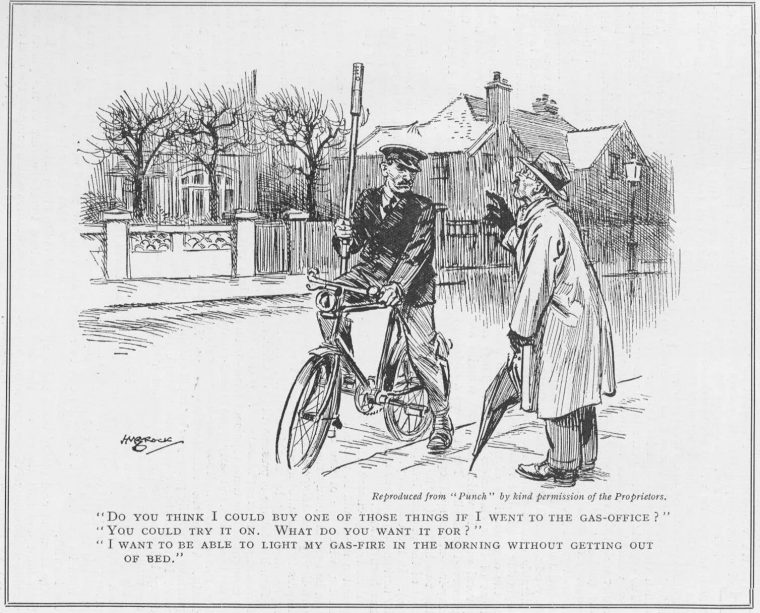 A 1930 cartoon from the periodical Punch features a bicycle-riding lamplighter. (Chris Sugg.)