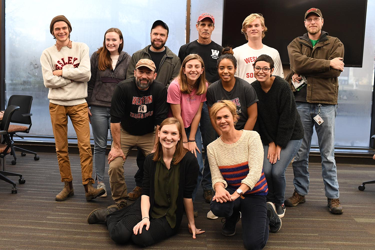 Pictured in the back row, from left: Sammy Osmond, Lilley Gallagher, David Malone, Tom Macri, Gaelin Kingston, Joseph Dorrer, Pictured in the middle row, from left: Dean Canalia, Camille Britton, Tamara Rivera, and Mia McKinney. Pictured in the front row, from left: Gretchen LaMotte '18 and Allison Orr.