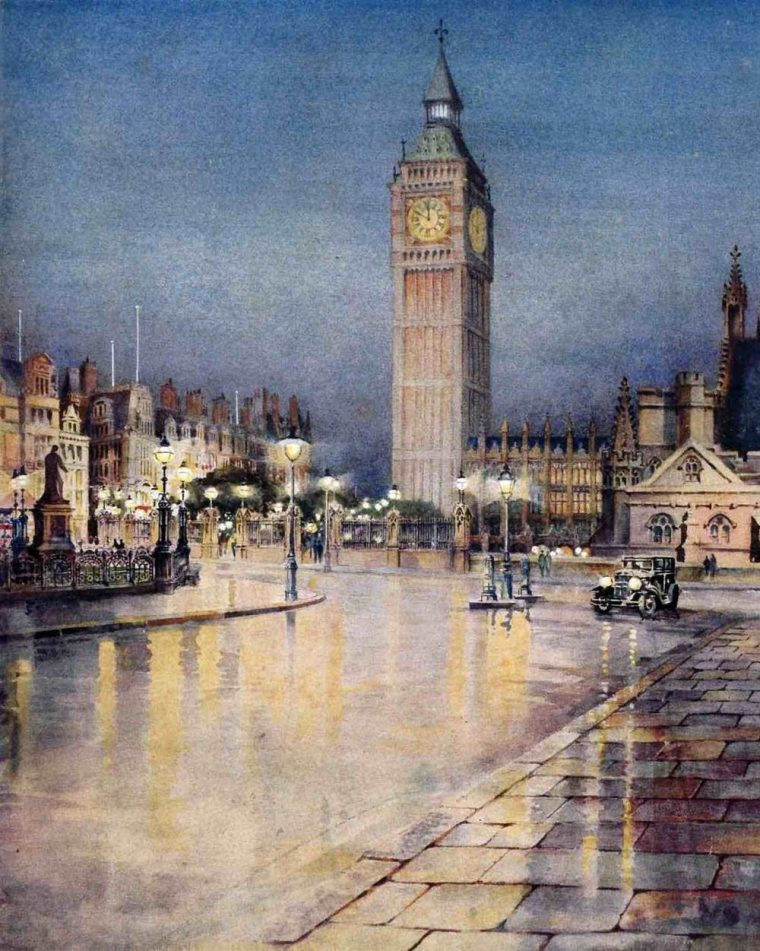 The cover of 'Daylight by Night,' a 1931 publication put together by the British Commercial Gas Association, depicts the soft glow of London's gas-lit streets. (The British Commercial Gas Association.)