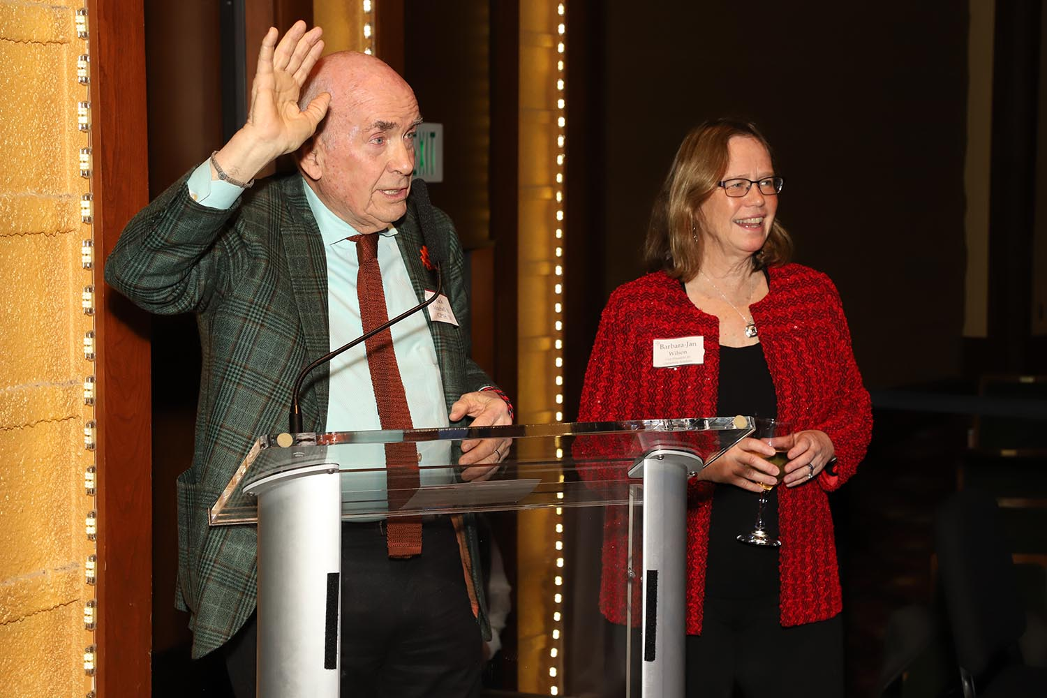 Jack Mitchell '61 gave a toast to Barbara-Jan Wilson, special advisor to the president, who in December retired as long-time vice president for University Relations.