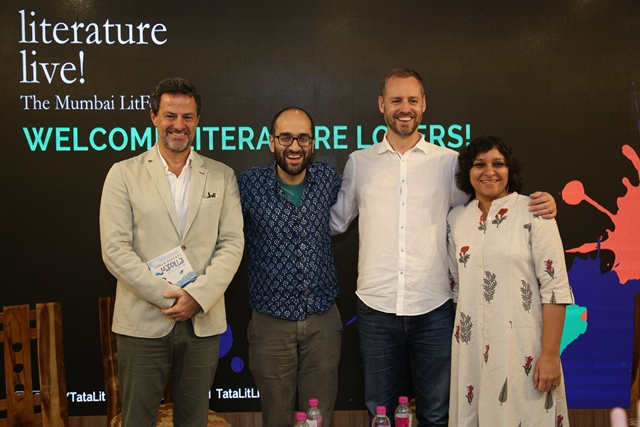 Hirsh Sawhney, assistant professor of English, coordinator of South Asian Studies, spoke on a panel about the way in which outsiders write about India at Tata Literature Live! The Mumbai LitFest. Other panelists included, from left, memoirist Carlo Pizzati, Sawhney, writer Scott Carney, and renowned Indian publisher Karthika VK.