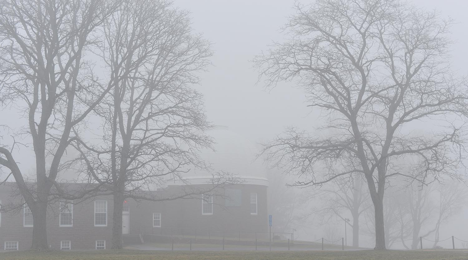 Fog swept through campus on Jan. 8. Pictured is the Astronomy Department and the Van Vleck Observatory.