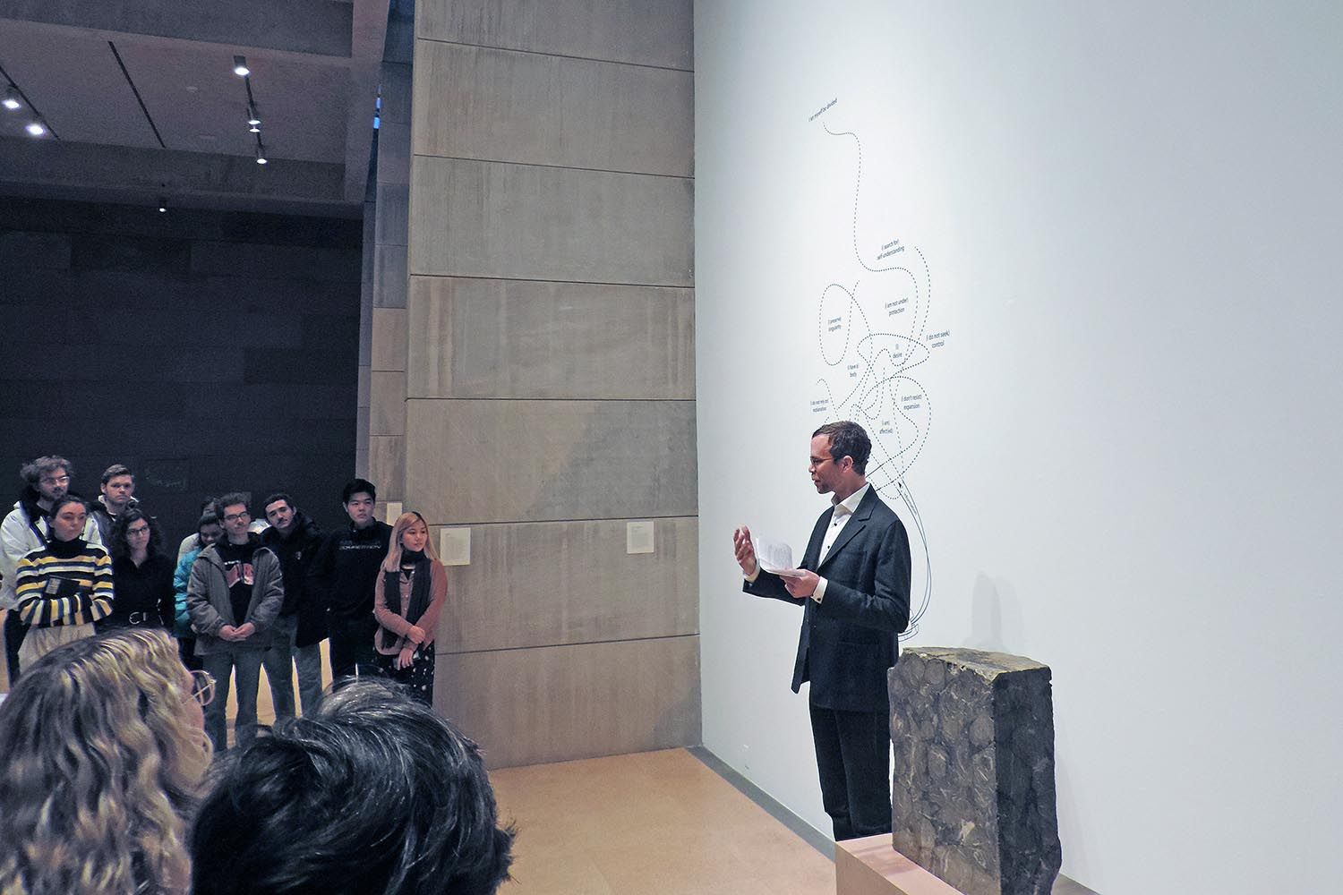 The opening reception included opening remarks by Curator Benjamin Chaffee, associate director of visual arts.