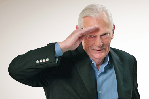 The Southwest Airlines site featured a photo of their founder, Herb Kelleher '53, Hon. 90, saluting in their farewell message honoring the company's founder.
