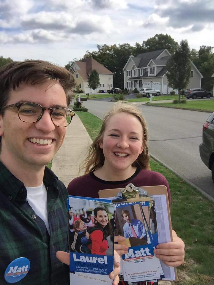 Austin Pope '19 and Virginia Sciolino '21 participated in a political engagement opportunity in Cromwell, Conn. last September. The students received a $500 grant from the Jewitt Center for Community Partnerships to support their political campaign work over fall break.