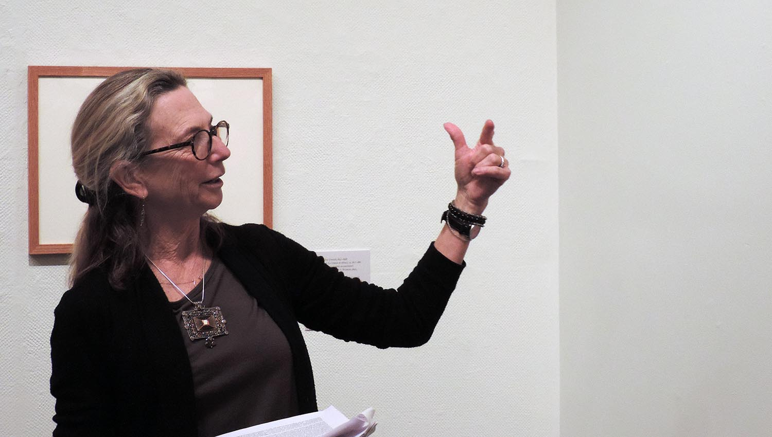 "The opening gallery talk was delivered by Kari Weil, University Professor, Environmental Studies, College of the Environment and College of Letters, Co-Coordinator for Animals Studies, and author of ""Thinking Animals: Why Animal Studies Now"" (Columbia, 2012)."