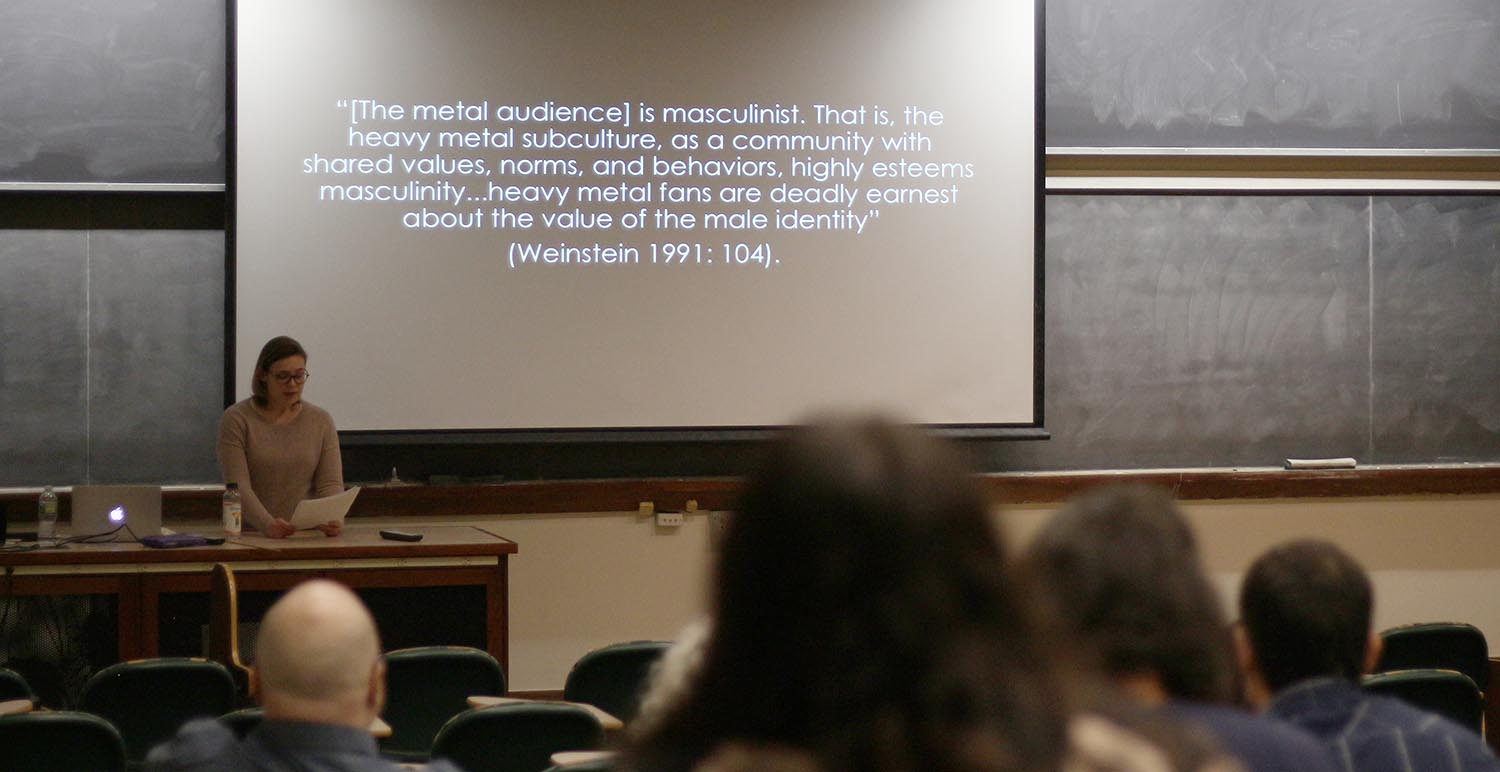 "Katrice Kemble, a graduate student in ethnomusicology, presented a talk on ""Daughters of Darkness: Performing Heavy Metal Feminism"" on Feb. 27 during the Graduate Speakers Series."
