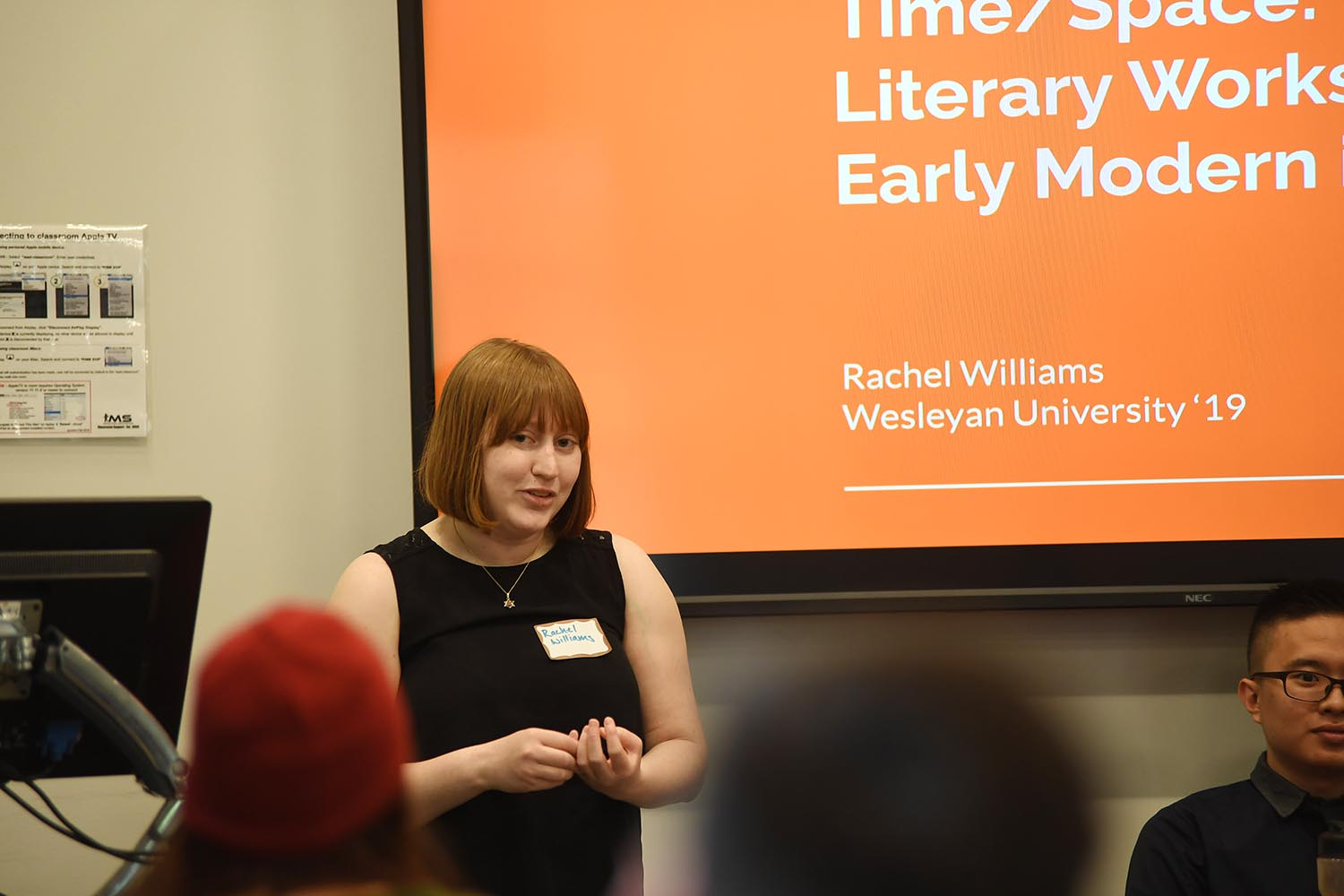 "Rachel Williams '19 spoke on ""Translation across Time/Space: Translating Literary Works from the Early Modern into Today."""