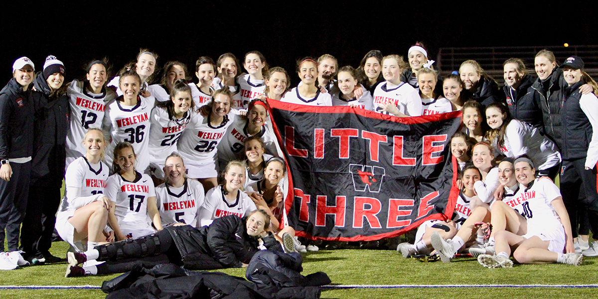 Wesleyan's women's lacrosse team won Little 3 victories in 2017 and 2019.