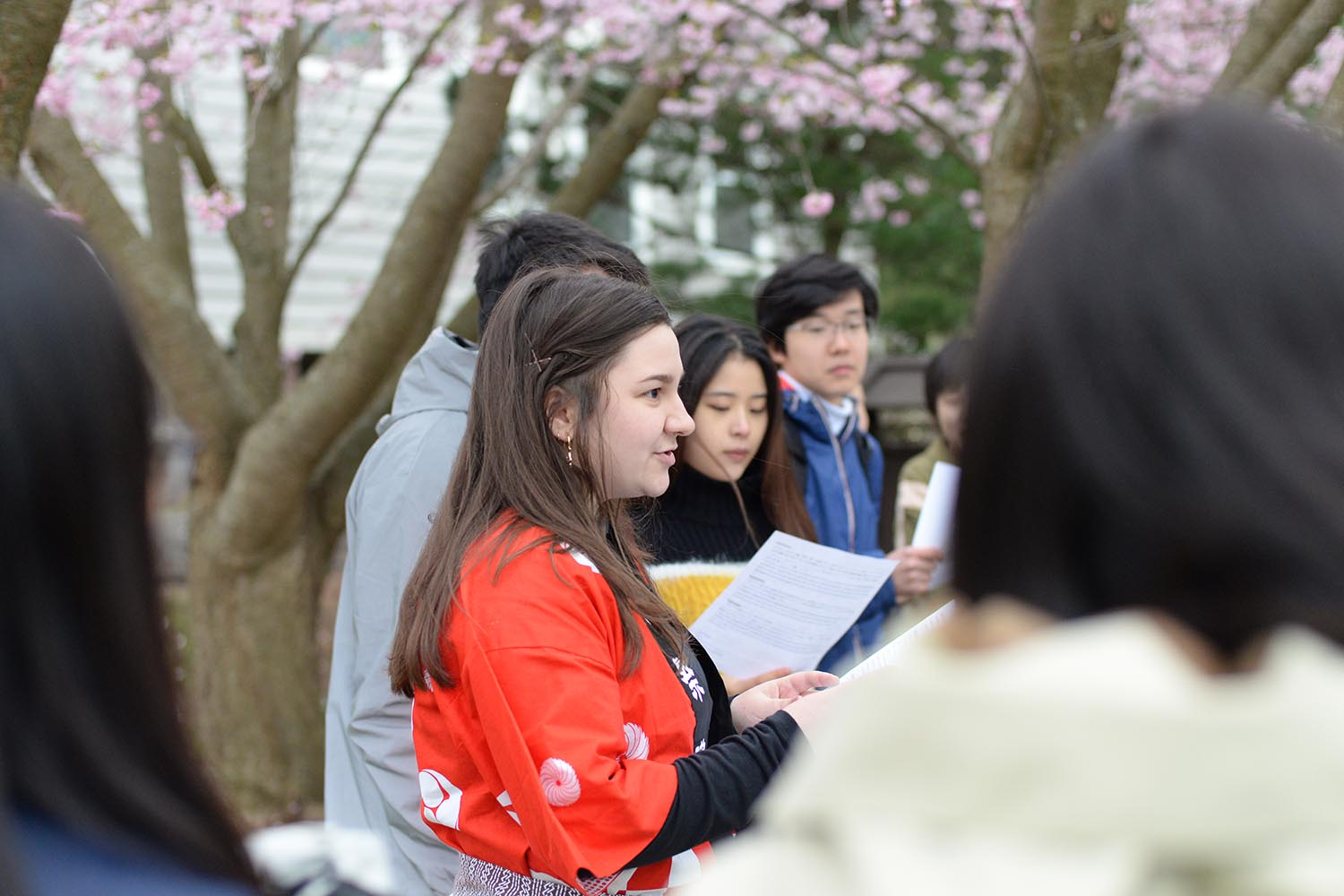 Students enrolled in JAPN218 and JAPN220 courses took turns reading a story—in Japanese and English—about the CEAS's cherry trees.