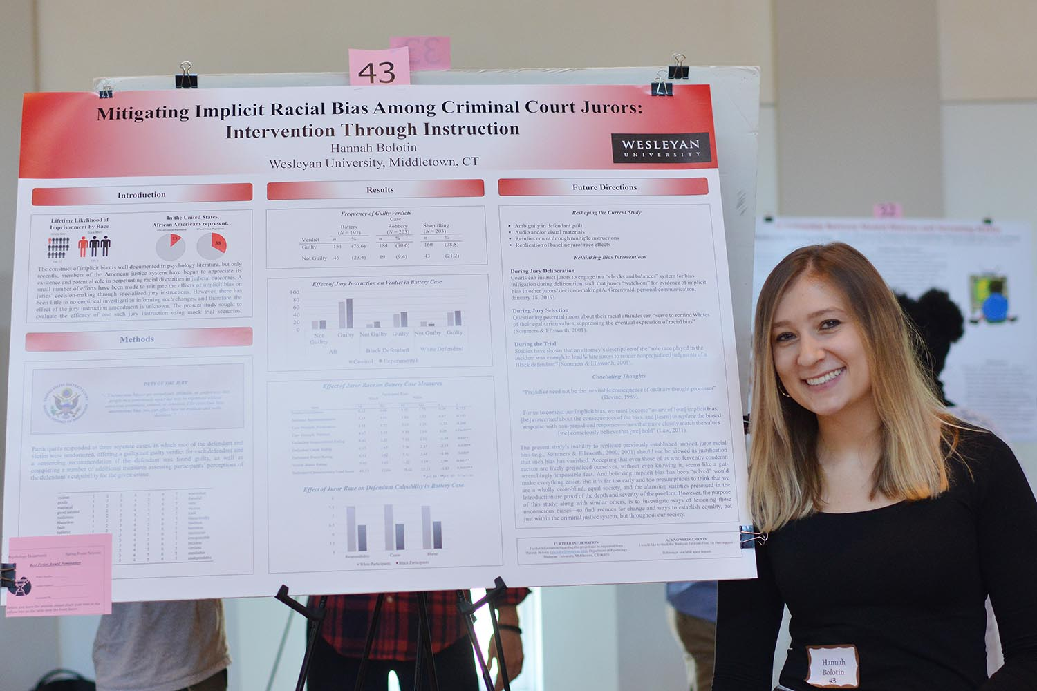 "Hannah Bolotin presented a poster titled ""Mitigating Implicit Racial Bias among Criminal Court Jurors: Intervention through Instruction."" Her advisor is Steven Stemler."