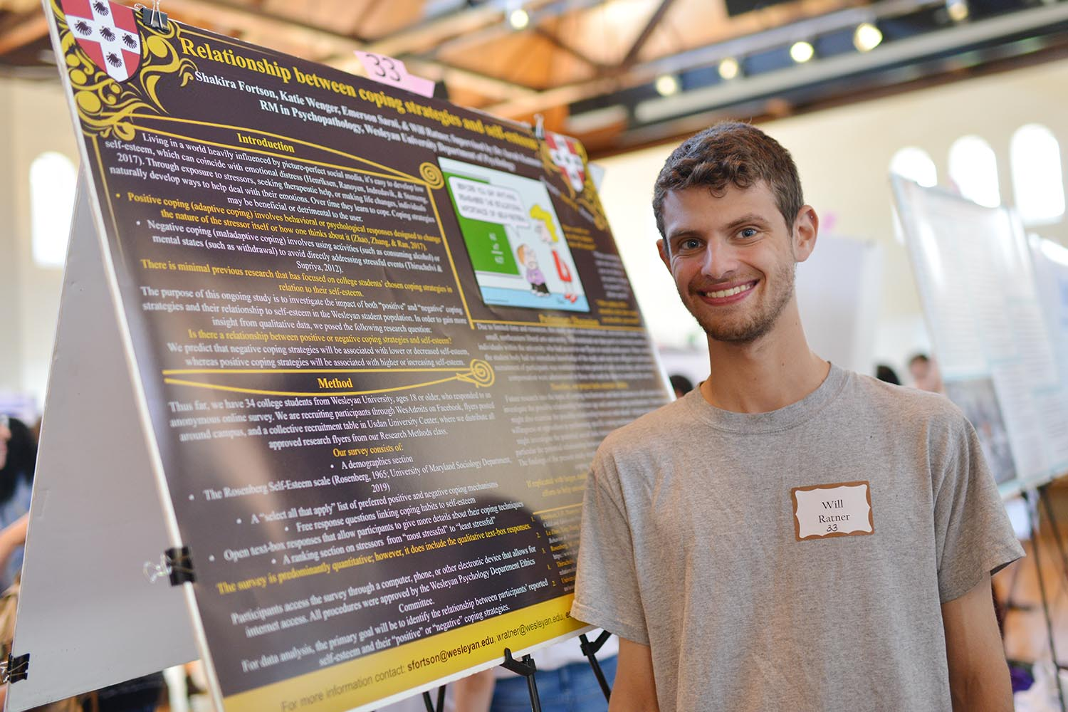 "Will Ratner '22 shared his poster titled ""Relationship between Coping Strategies and Self-Esteem."" Ratner's advisor is Sarah Kamens, the David Scott Williams Visiting Professor of Psychology"