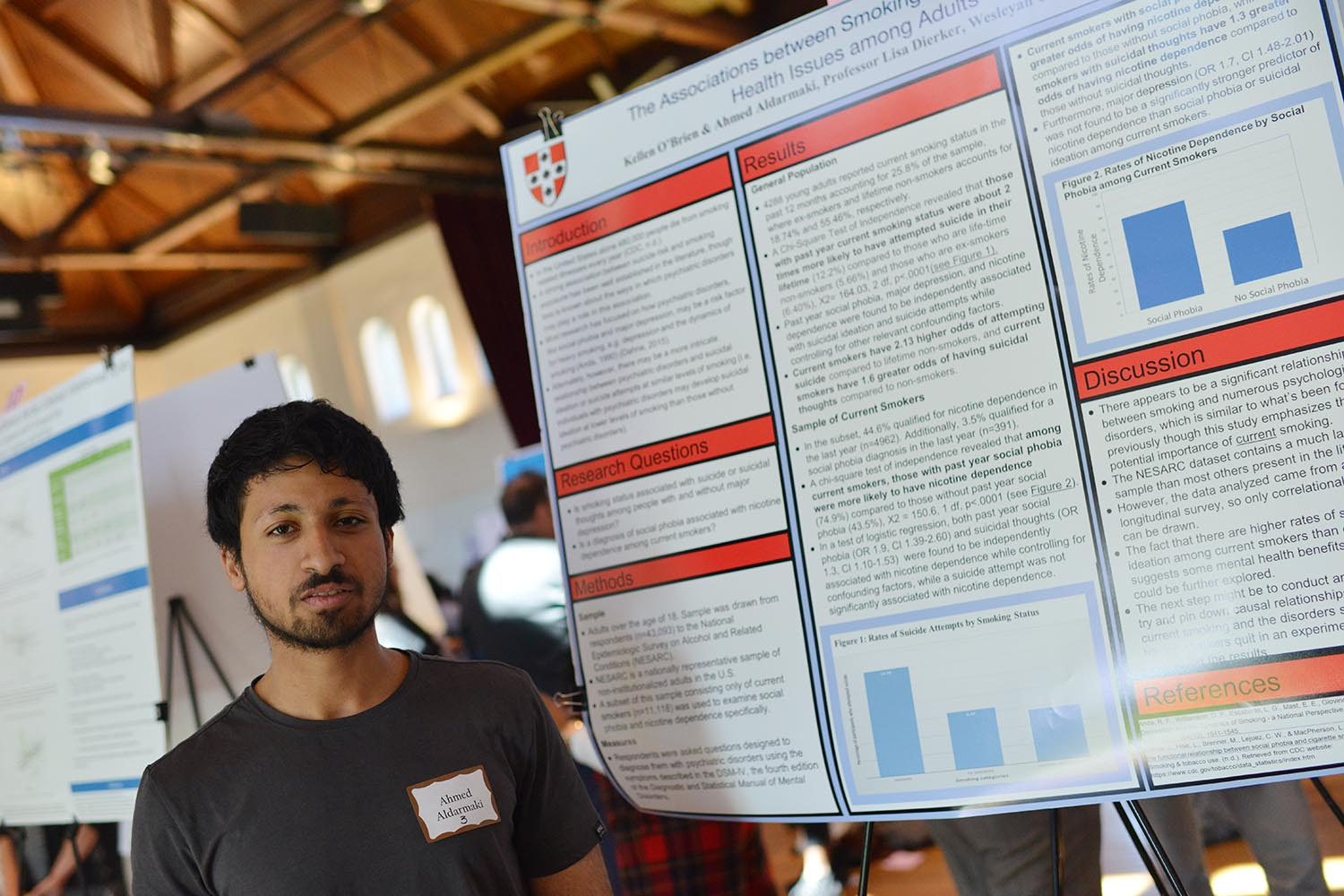 "Ahmed Aldarmaki shared his research titled ""The Associations between Smoking Status and Mental Health Issues among Adults."" His advisor is Lisa Dierker."