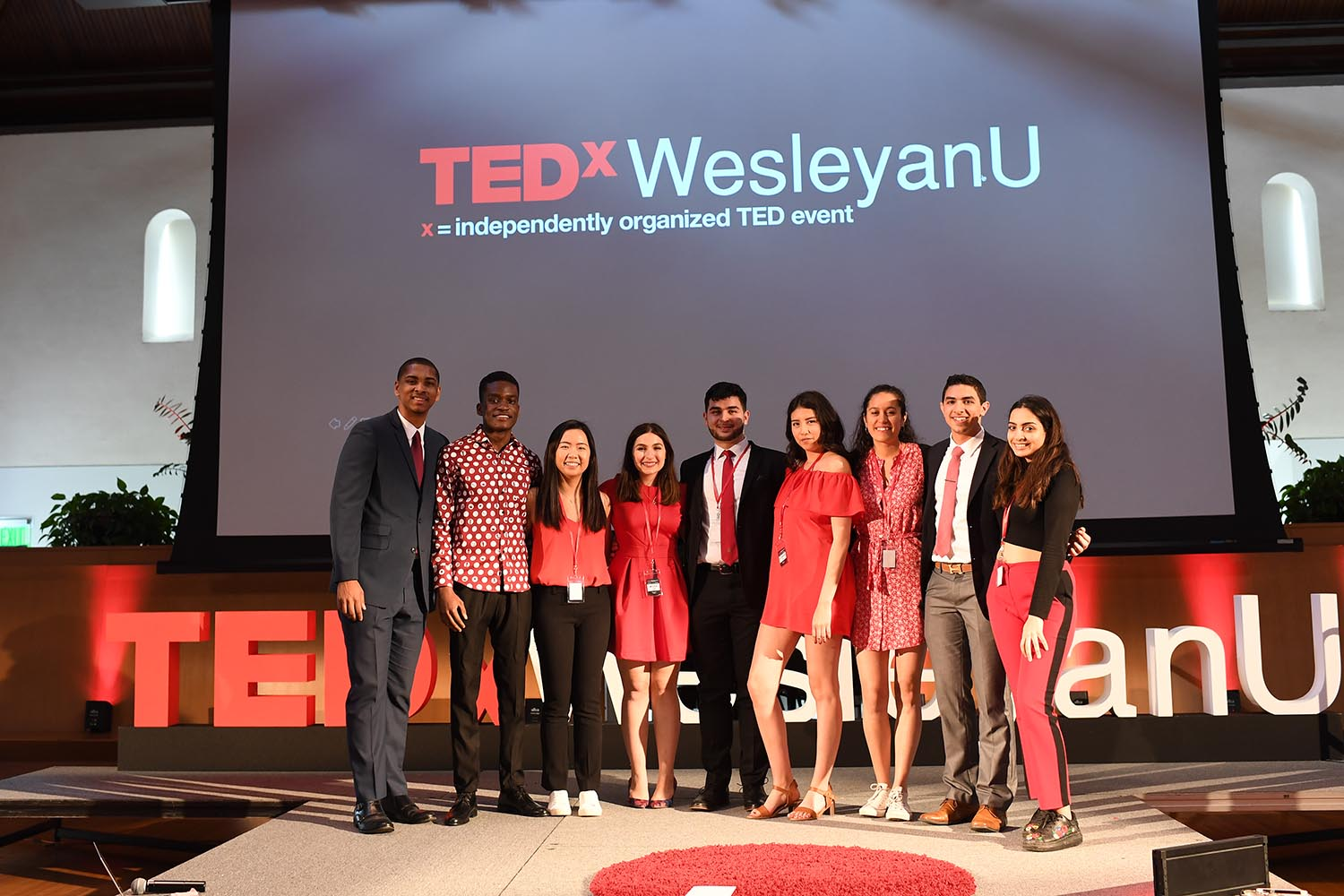 Members of the 2019 TEDxWesleyanU team gathered on the TEDx stage in Beckham Hall following the successful conference. Tickets for the event sold out within 12 hours.