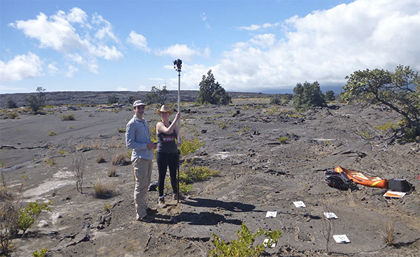John Sheffer and Jacqueline Buskop collecting photogrammetry data on footprint trackways in the Ka'u Ash Desert on Kilauea.