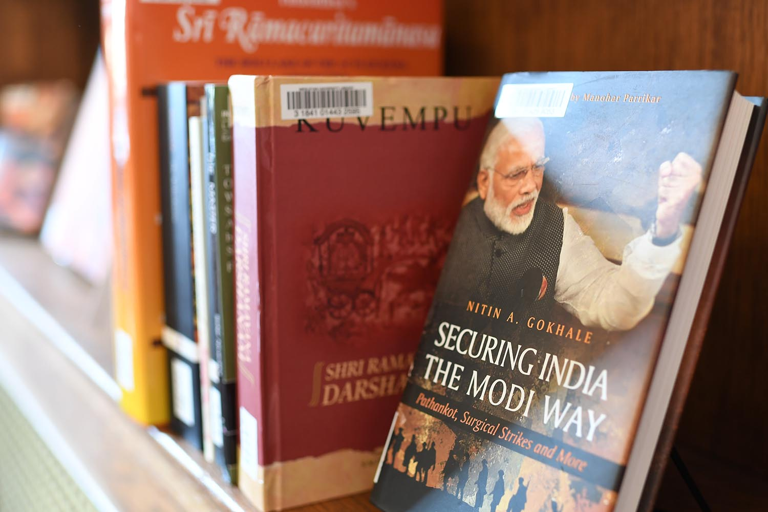 Securing India the Modi Way, by Nitin Gokhale, is one of the 33 books donated by the General Consul of India, New York.