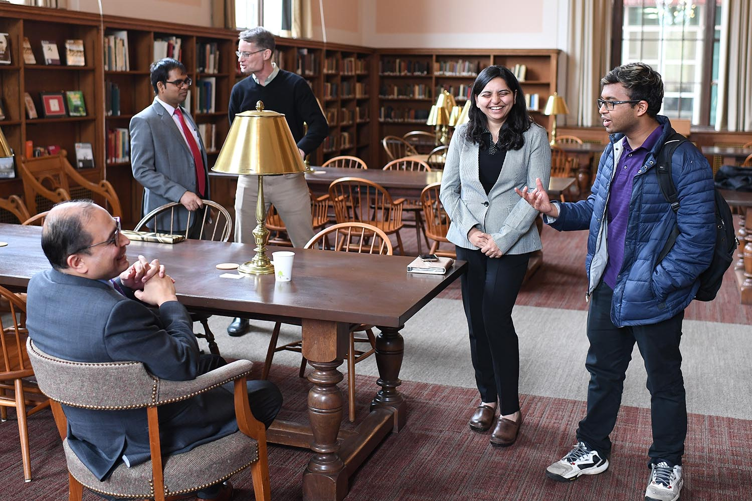 Consul Chakravorty met with several Wesleyan students including Thanmye Lagudu '20.