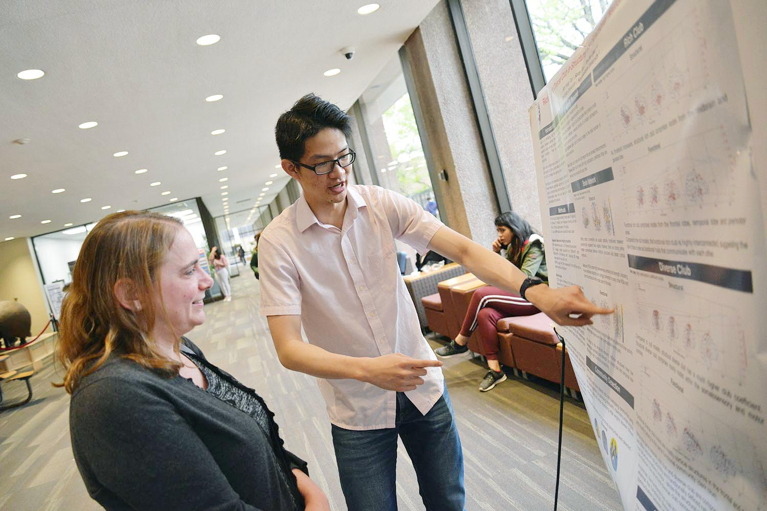 "Han Yang Tay presented a poster titled ""Rich Club and Diverse Club in Structural and Functional Neuroimaging Data."" His advisor is Psyche Loui"