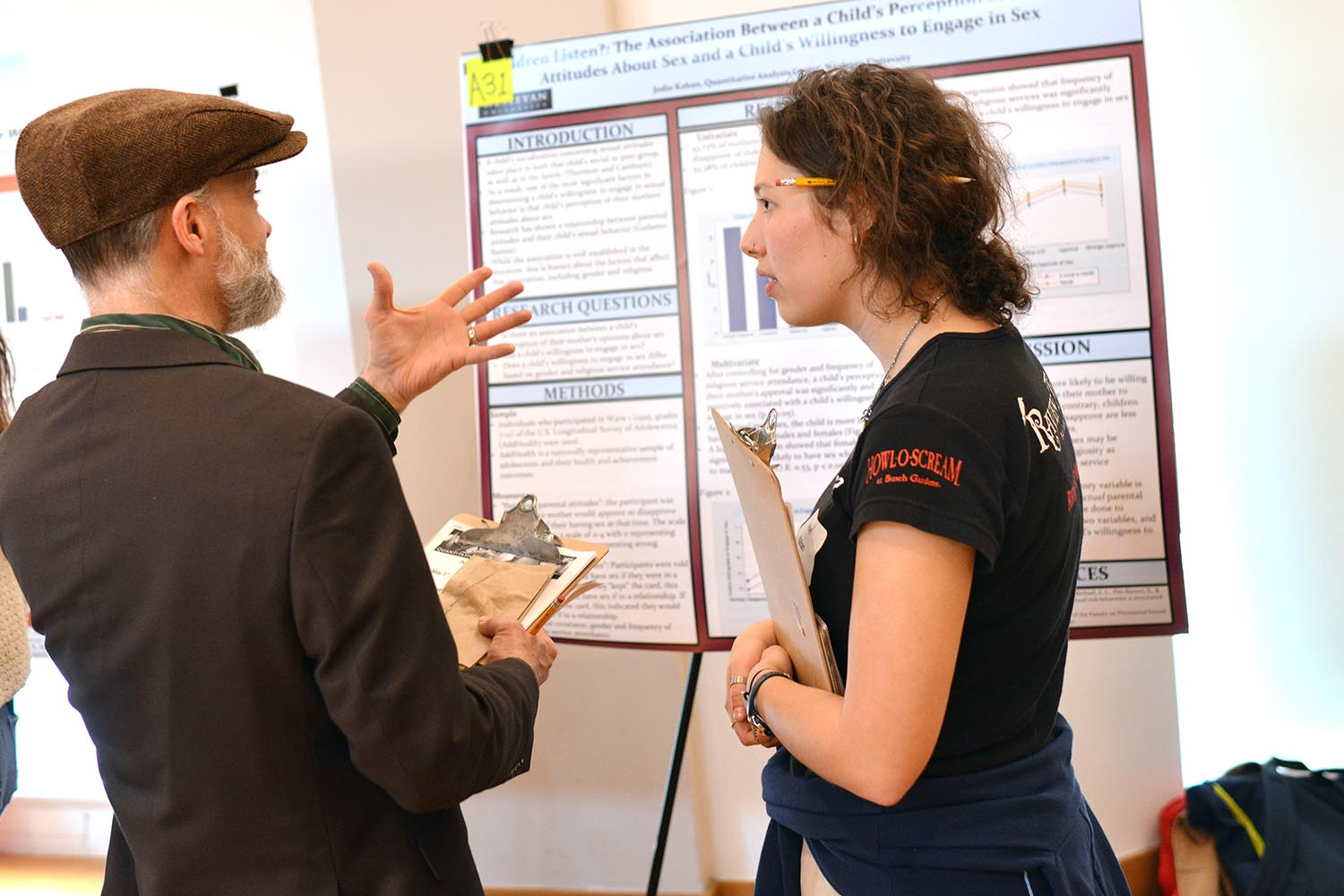 "Jodie Kahan '21 presented her study titled, ""Do Children Listen?: The Association Between a Child's Perception of their Mothers' Attitudes About Sex and a Child's Willingness to Engage in Sex."""