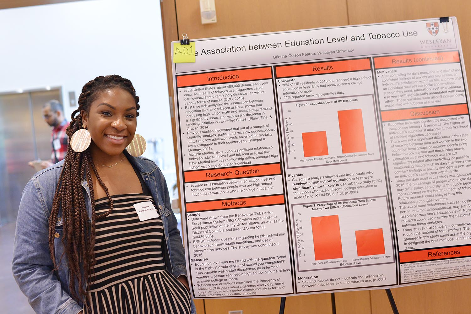 "Brionna Colson-Fearon '22 explored the topic of ""The Association between Education Level and Tobacco Use."""