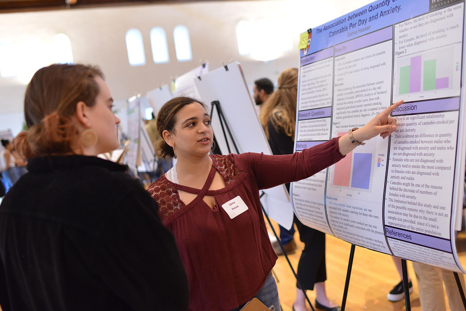 "Salma Hassan '22 presented her study titled, ""The Association between Quantity of Smoking Cannabis Per Day and Anxiety."""