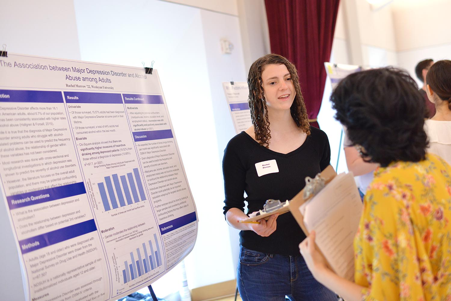 "Rachel Morrow '22 discussed ""The Association between Major Depression Disorder and Alcohol Abuse among Adults."""