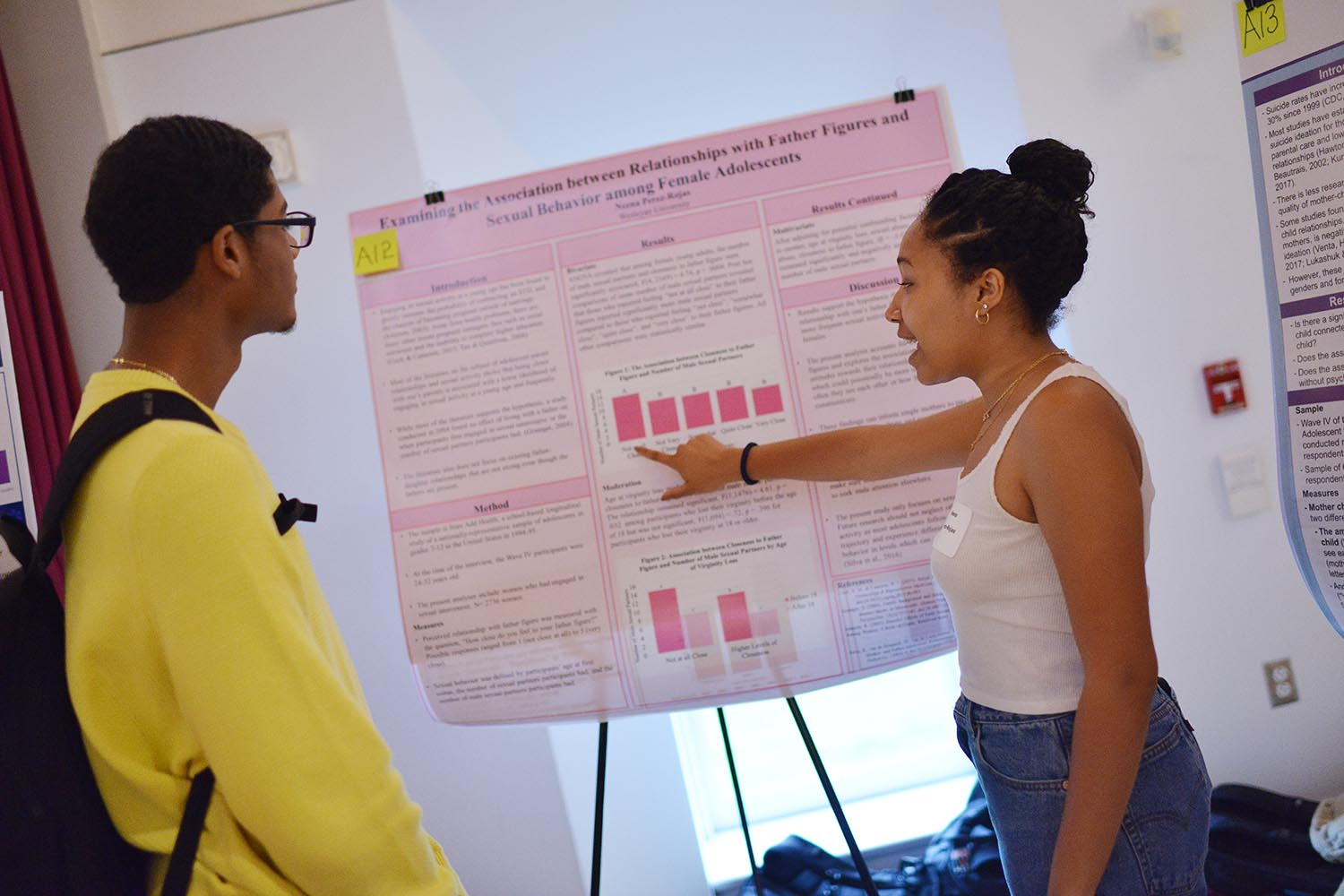 "Neena Perez-Rojas '21 discussed her study, ""Examining the Association between Relationships with Father Figures and Sexual Behavior among Adolescents."""