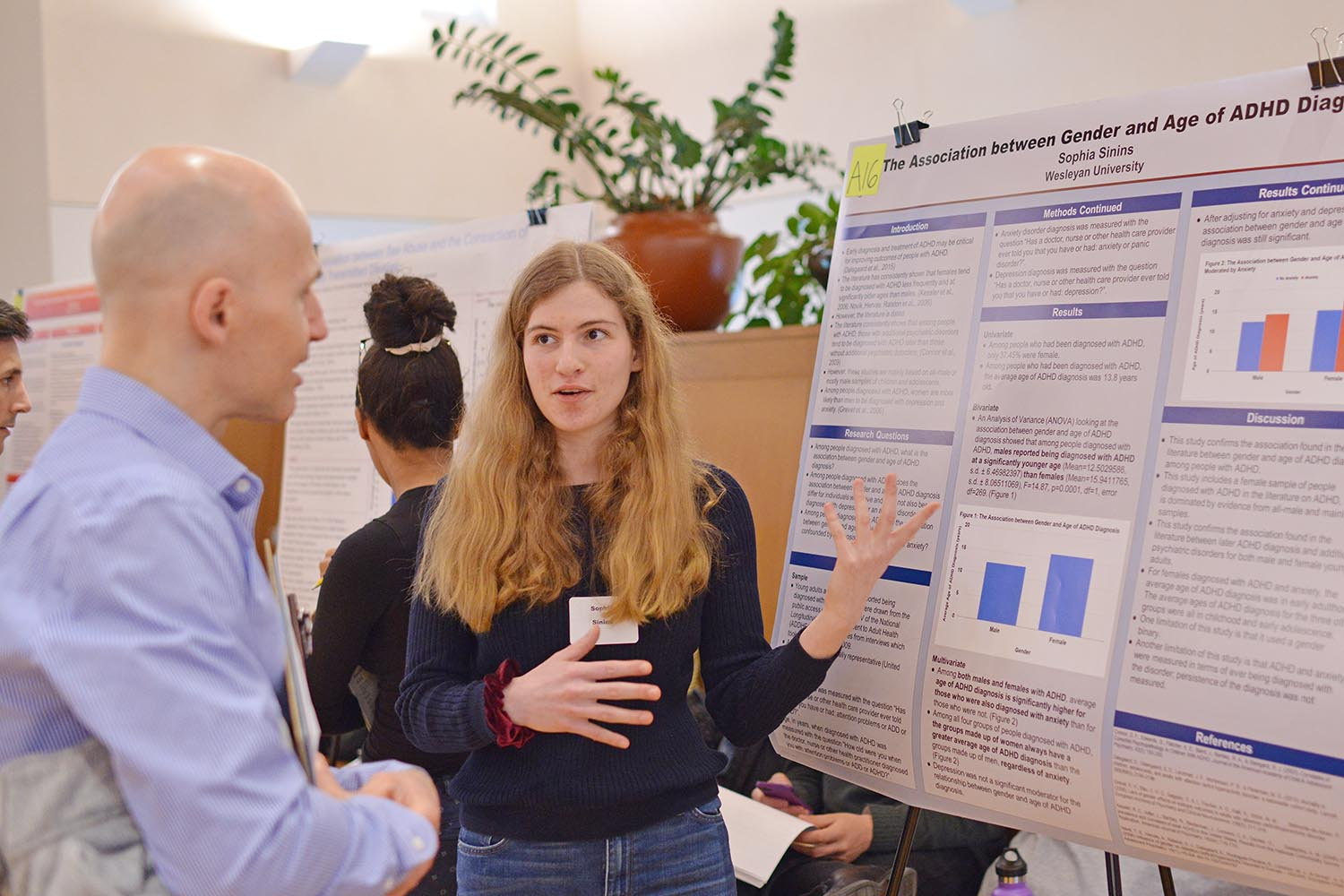 "Sophia Sinins '22 shared the results from her study titled, ""The Association between Gender and Age of ADHD Diagnosis."""