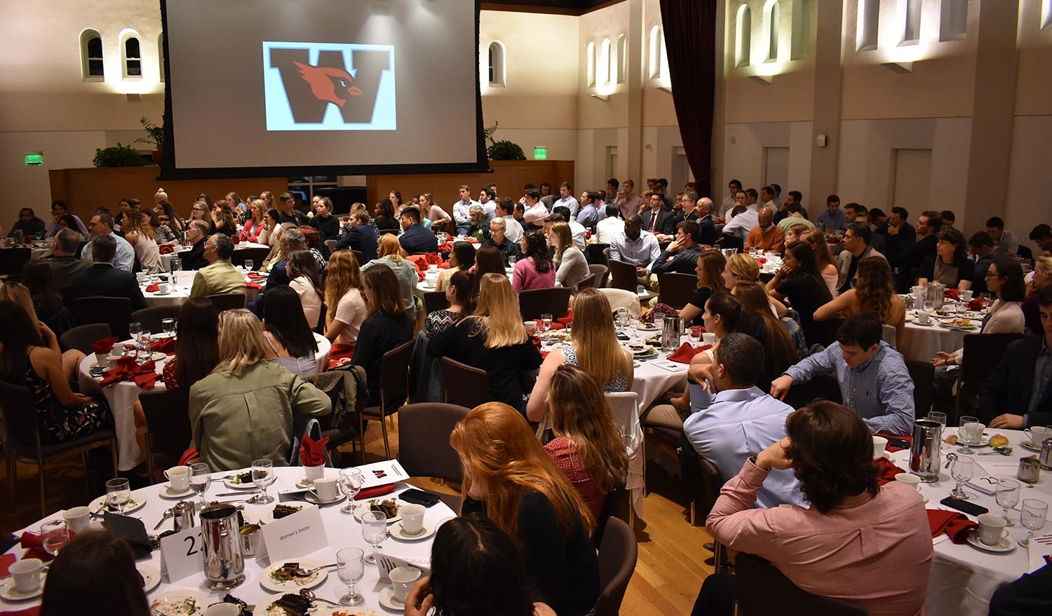On May 2, Wesleyan Athletics celebrated its student-athletes and coaches at the seventh annual Scholar-Athlete Dinner in Beckham Hall. (Photos by Tom Dzimian)