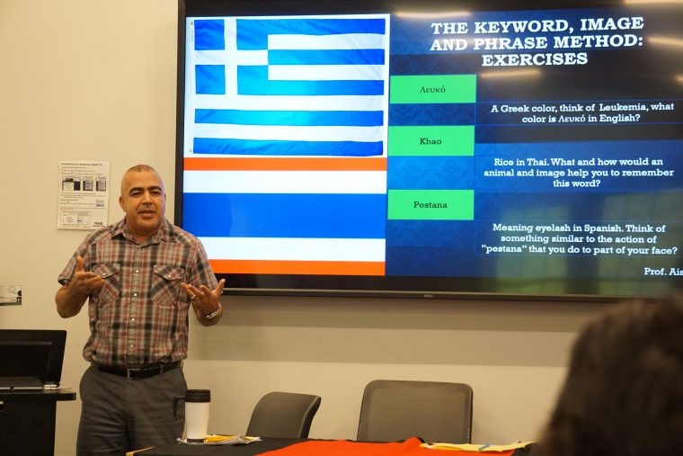 "Abderrahman Aissa, adjunct assistant professor of Arabic, spoke on ""Second Language Acquisition: Strategies for learning vocabulary through word, phrase and image association."""