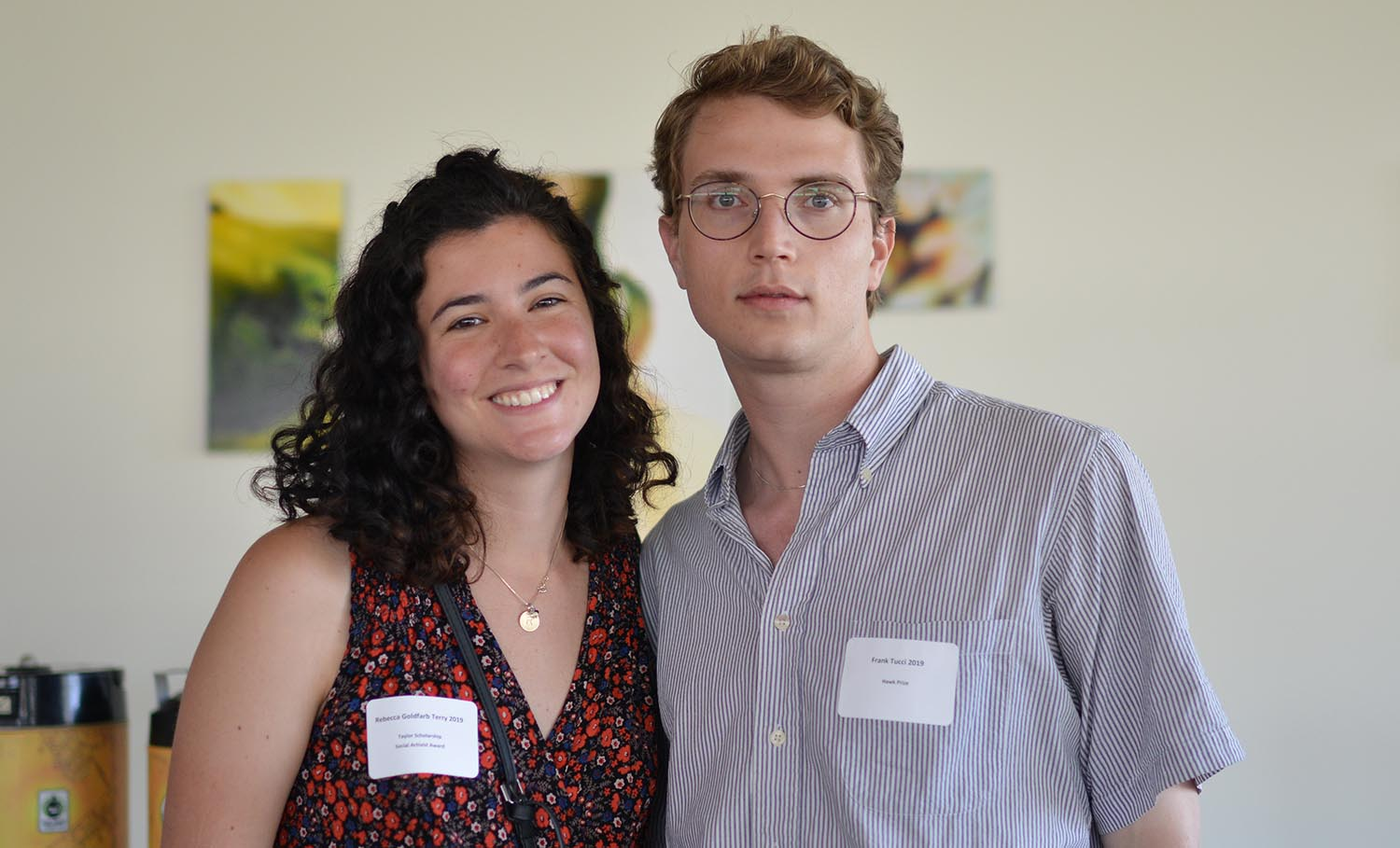 Rebecca Goldfarb Terry '19 received the Yalor Scholarship and the Social Activist Award. Frank Tucci received the Hawk Prize.