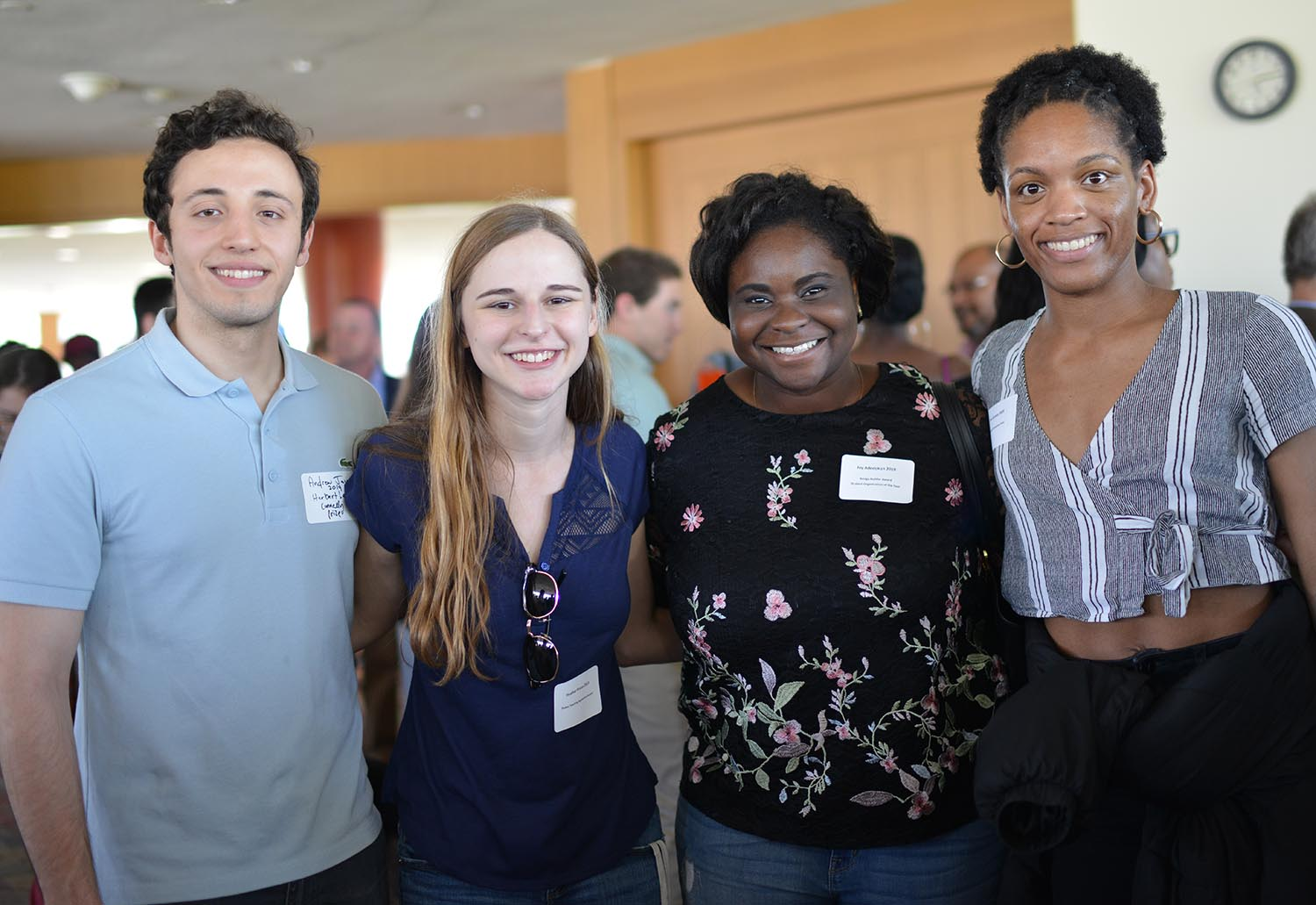 Andrew Jacono '19 won a Herbert Lee Connelly Prize for demonstrating an interest in English literature. Heather Pincus '19 won a Plukas Teaching Apprentice Award for excellent service to the Economics Departments as a teaching apprentice. Joy Adedokun '19 won a Bridge Builder Award for succeeded in strengthening the relationship between Wesleyan and the greater Middletown community. Zoe Garvey '20 won the Dr. Neil Clendeninn Prize for achieved academic excellence in biology and/or molecular biology and biochemistry.