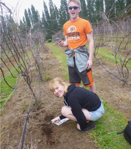 Ryan Nelson and Celeste Smith collecting soils at Volcano Winery, Hawaii