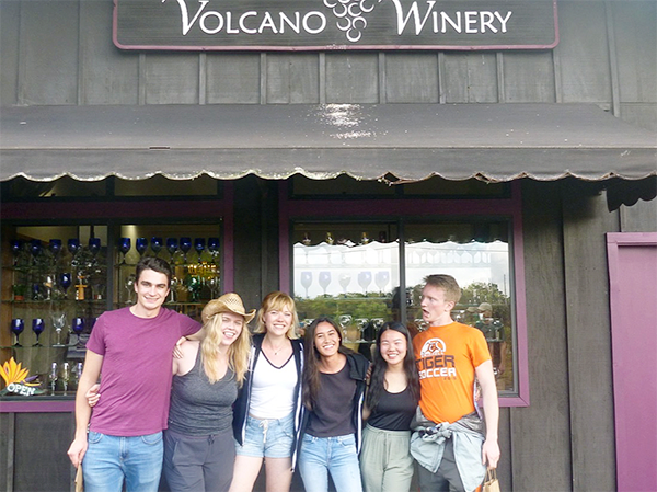 John Sheffer, Jacqueline Buskop, Celeste Smith, Sara Wallace-Lee, Kelly Lam, and Ryan Nelson at Volcano Winery, Hawaii