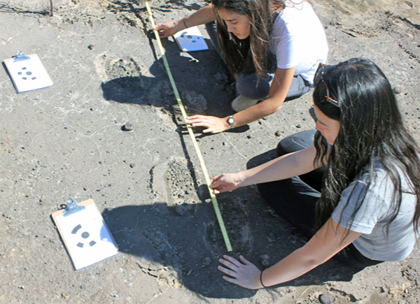 Kelly Lam and Sara Wallace-Lee measuring stride length of a trackway.