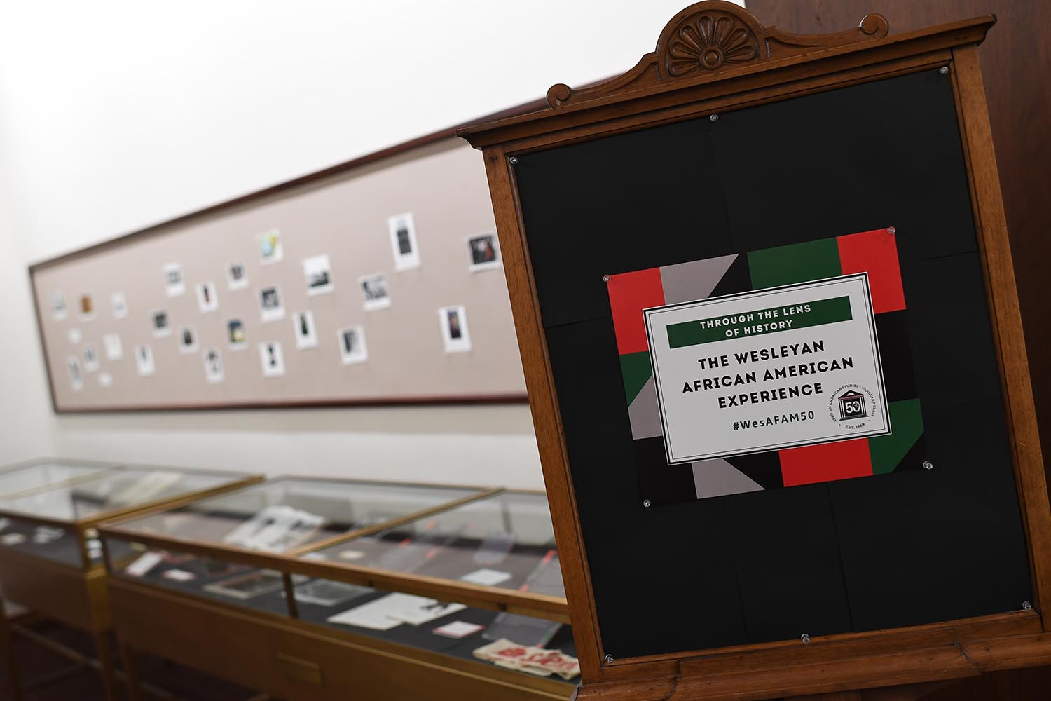 In celebration of the African American Studies' 50th anniversary, the department has created multiple displays on campus that honor the history of black student life at Wesleyan.