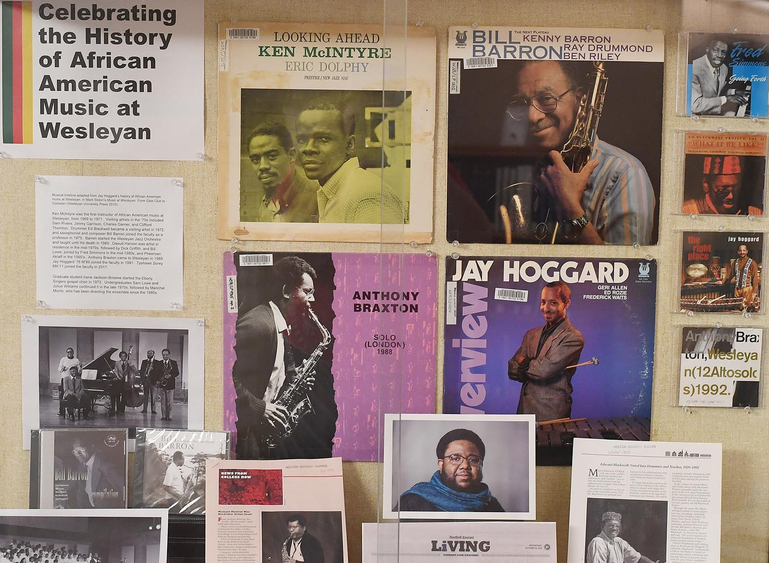 """Celebrating the History of African American Music at Wesleyan"" is displayed outside the Music Library in Olin Library."