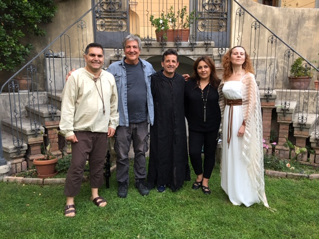 Ron Jenkins, pictured second from left, celebrated his new book in a garden of an 18th century villa with performances of the play that is the subject of his book, Resurrection of the Saints: Sacred Tragi-Comedy in Venafro. He's pictured with actors, from left, Adriano Cimino, Gianni Di Chiaro, and Emanuela Paolozzi along with the translator of the Italian version of the book, the poet Maria Giusti.
