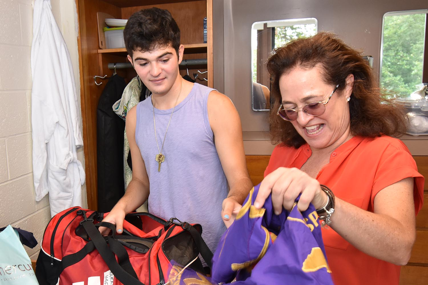 "Harrison Haft, of NYC His mom, Simone, came to help him move in. He wants to study film. Move-in day ""has been really nice. This room is nicer than I expected."""