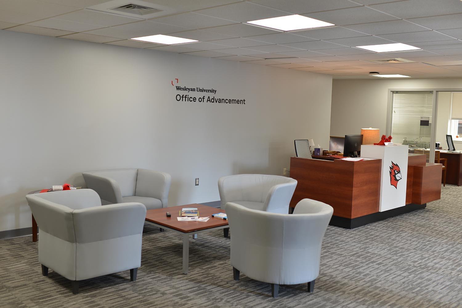 Guests are greeted in the Office of Advancement lobby.