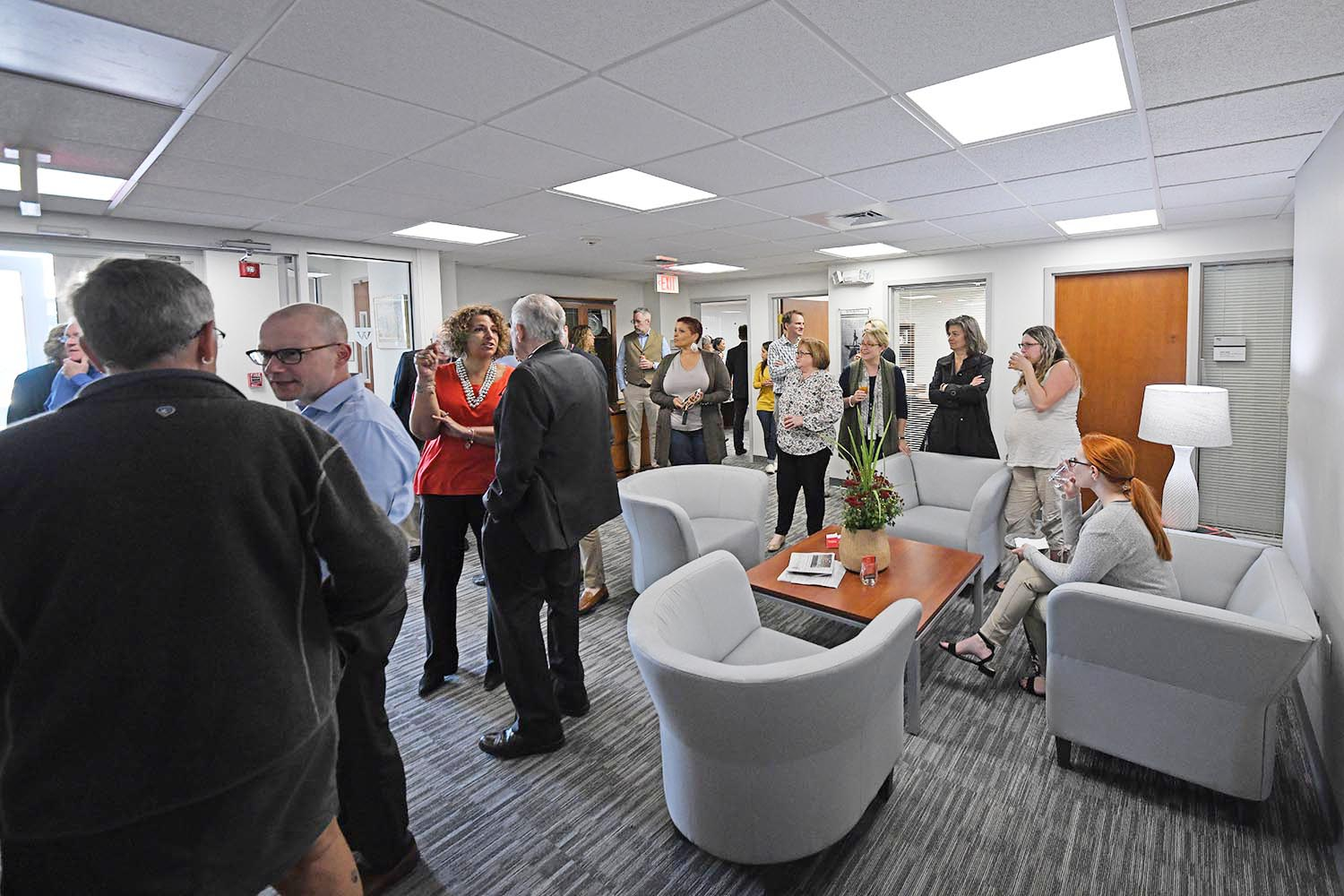 About 100 guests from Wesleyan and the Main Street community attended the Advancement Open House.