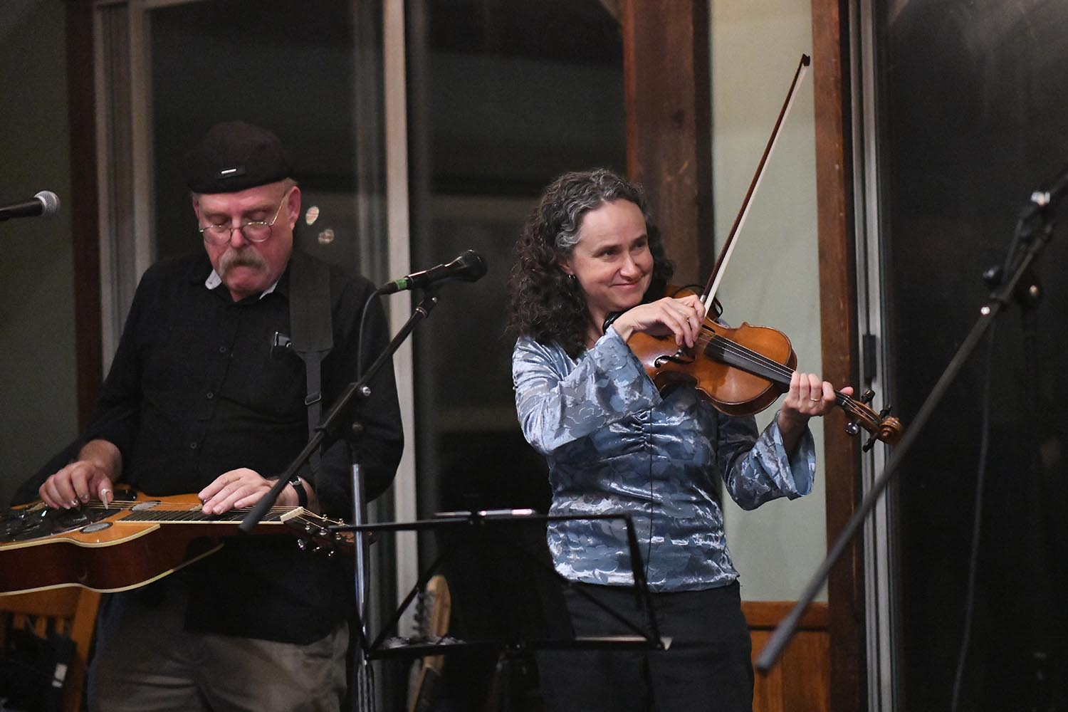 Fiddle player and lead singer Rebecca McCallum, head cataloging Olin Library, plays fiddle and is the group's lead singer.
