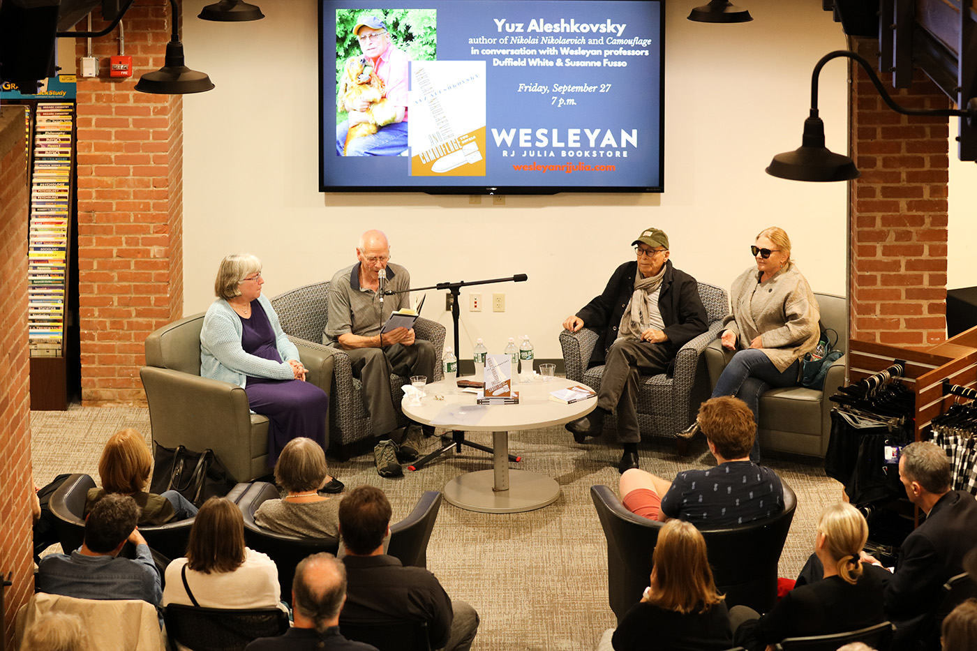 On Sept. 27, the award-winning contemporary Russian writer Yuz Aleshkovsky sat down with two collaborators and former colleagues, Duffield White and Susanne Fusso, at the RJ Julia Bookstore to discuss the publication in English of his novels, Nikolai Nikolaevich and Camouflage.