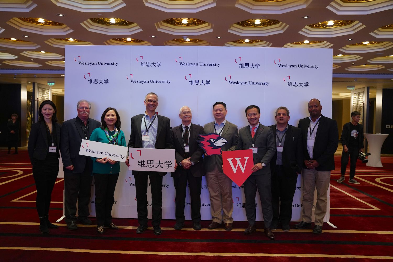From left, Program Manager for Global Initiatives Zijia Guo, Chernoff, Zhu, Roth, Adelstein, Xie, Ai, Plafker, Vice President for Advancement Frantz Williams at the forum.