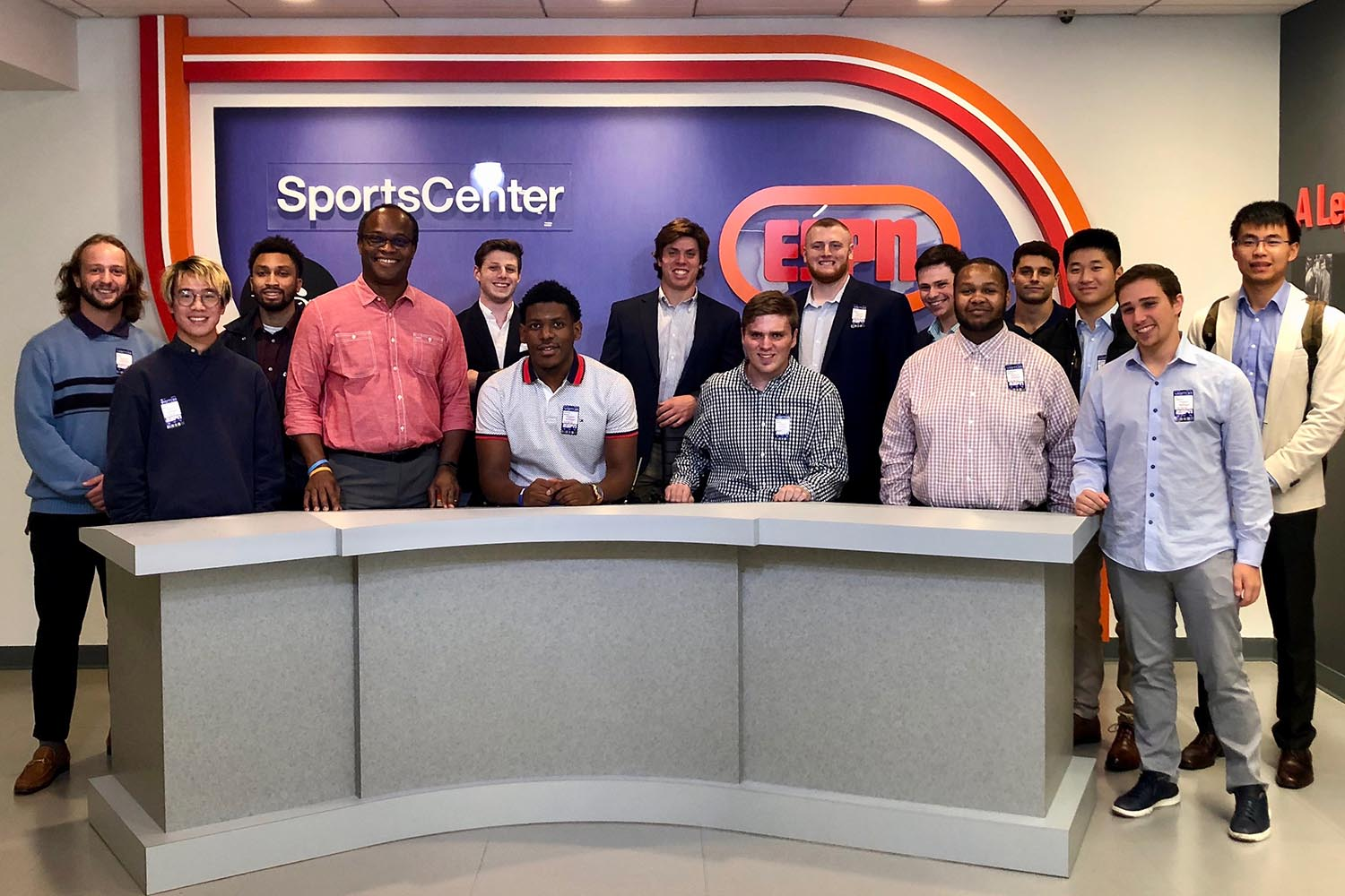 On Oct. 18, 14 students visited the ESPN campus in Bristol, Conn. Students spent time with Rob King '84 hearing about his career in journalism and viewing some of his current video projects and participating in a full studio tour including watching the taping of segments for SportsCenter.