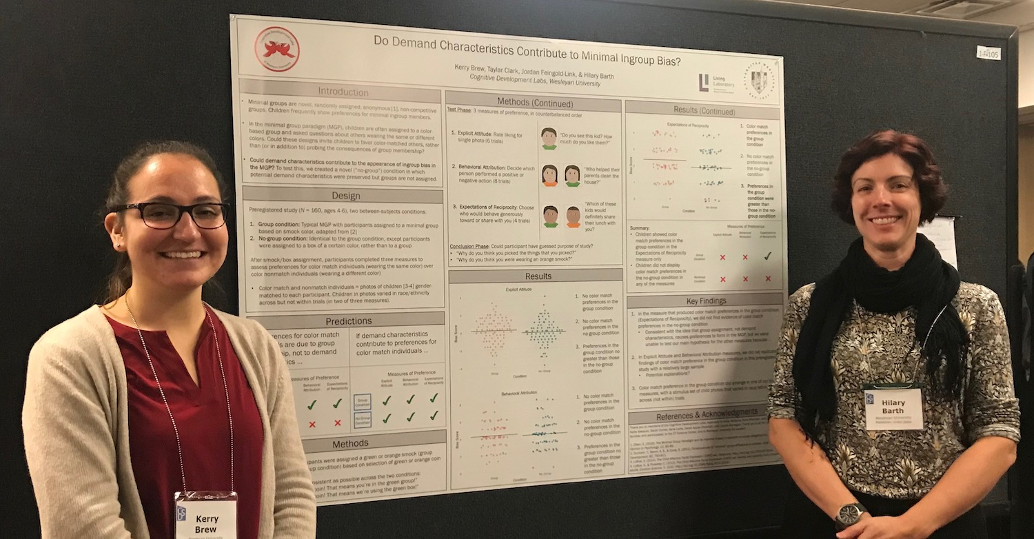 Professor of Psychology Hilary Barth and Kerry Brew BA '18, MA '19 were among a large group of Wesleyan faculty, students, and alumni who recently presented research at the 2019 CDS Biennial meeting.