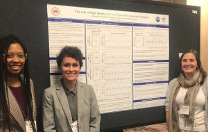 """Sophie Charles '20, former lab coordinator Alexandra Zax, and lab coordinator Katherine Williams presented their poster on """"The Role of Digit Identity in 5- to 8-year-olds' numerical estimates."""""""