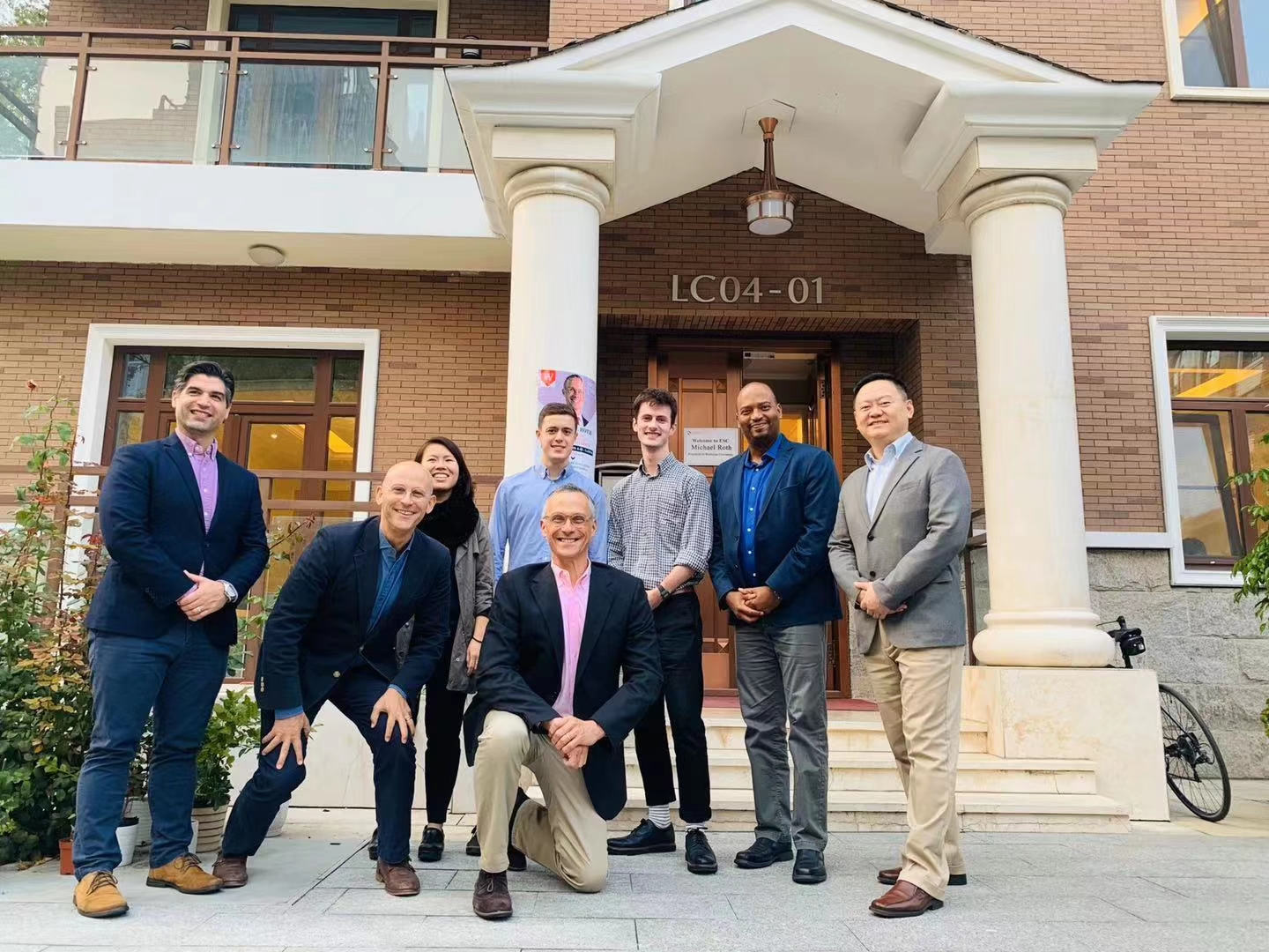 President Roth and others visited Elite Scholars of China, founded by Tomer Rothschild '94 (front center, to the left of Roth).