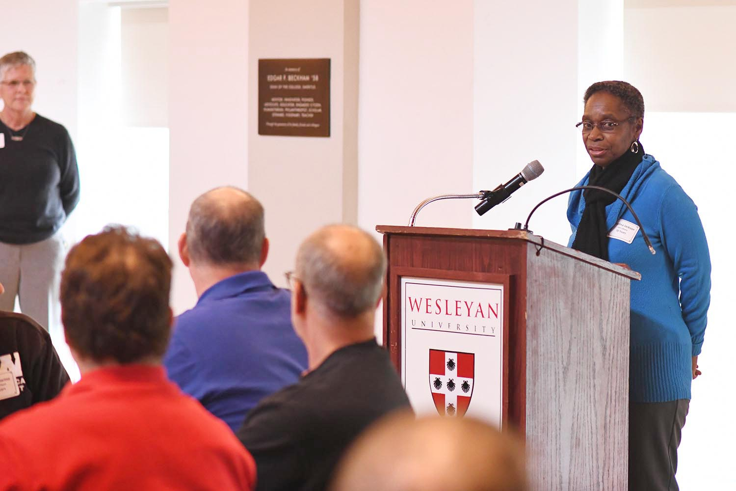 Pearlina Jackson, library assistant for Olin Library celebrated 50 years at Wesleyan. She presented a short speech about her time at Wesleyan during the luncheon.