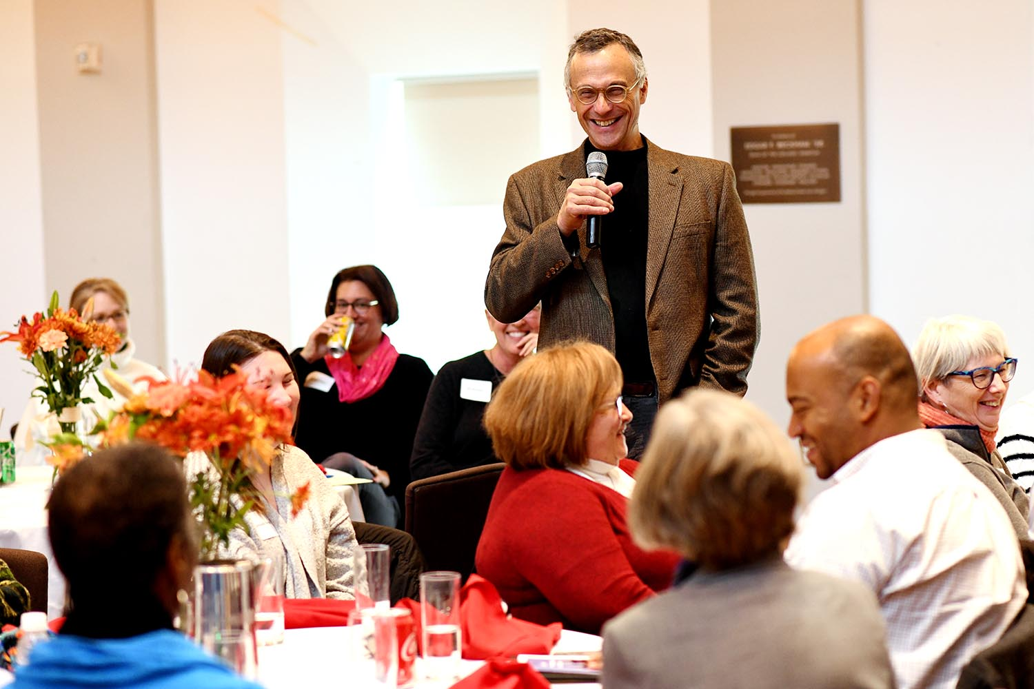 Wesleyan President Michael Roth '78 asked the employees to share memories of their first day at Wesleyan.